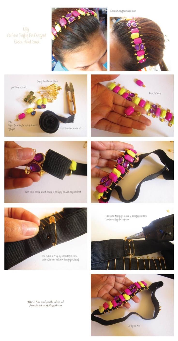 DIY: No-Sew Safety Pin Designed Elastic Headband