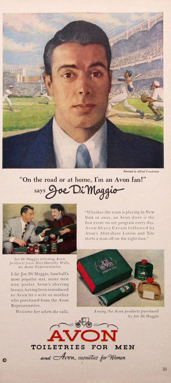 1950 Avon Toiletries for Men Ad  Joe DiMaggio by RetroReveries