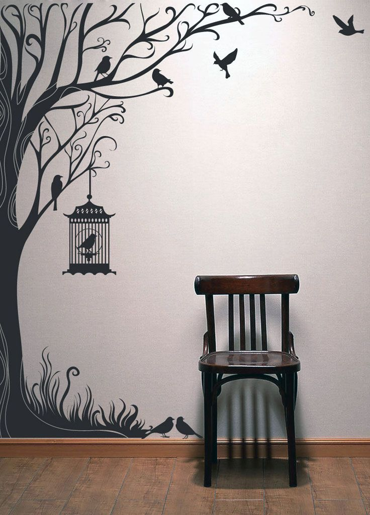 Tree decal wall stickers nature decals home decor-98 inch Tall Autumn Tree wall…