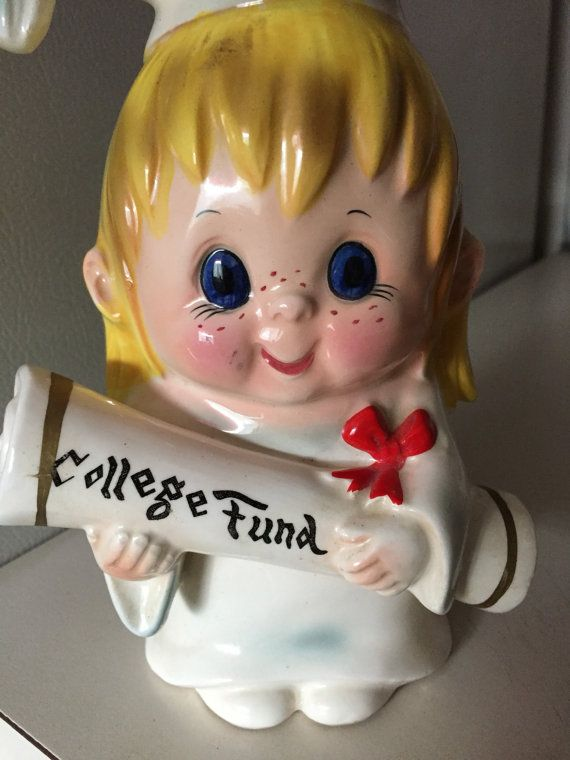 Lefton Adorable Freckle Girl College Bank by LindasGoodies on Etsy
