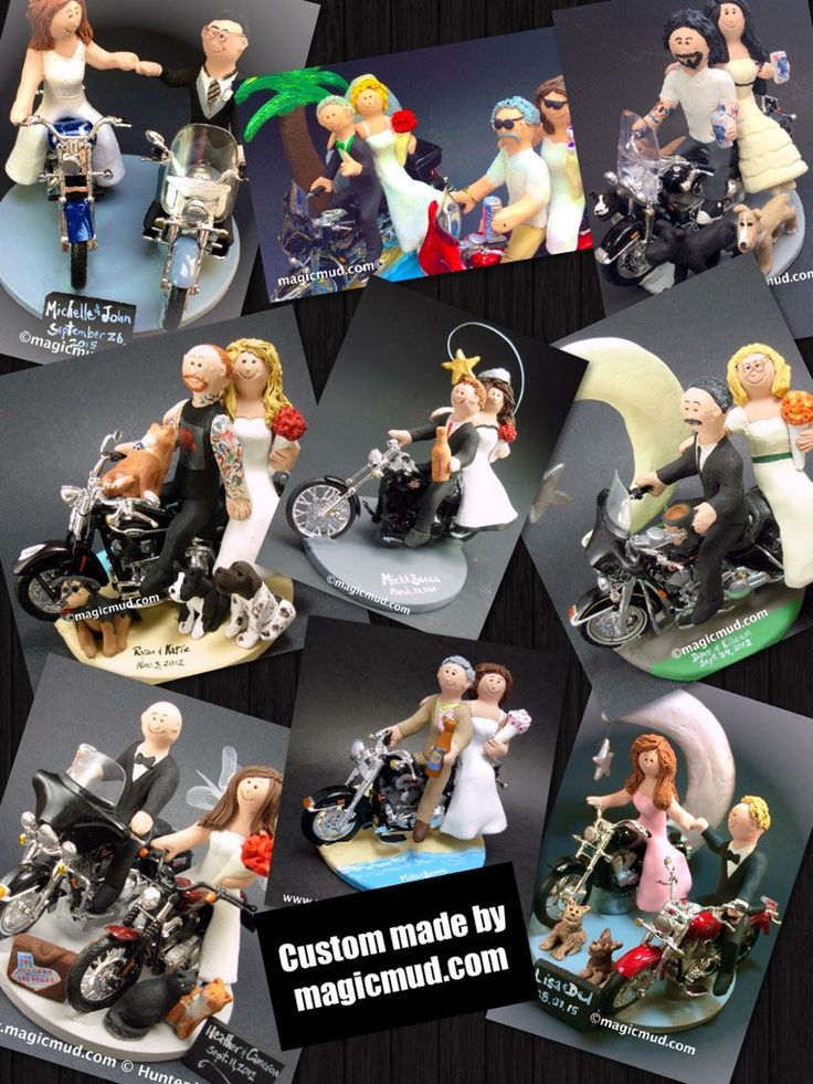 Harley Davidson Wedding Anniversary Gift/Cake Topper, Motorcycle Bride and Groom Wedding Anniversary Gift/Cake Topper.    Bride and Groom Riding Harley-Davidson Motorcycles Wedding Cake Topper, Custom Made to your specifications. Made just for your wedding day! Both the bride and groom are riding their own harley motorcycles!!    $235 #magicmud 1 800 231 9814 www.magicmud.com