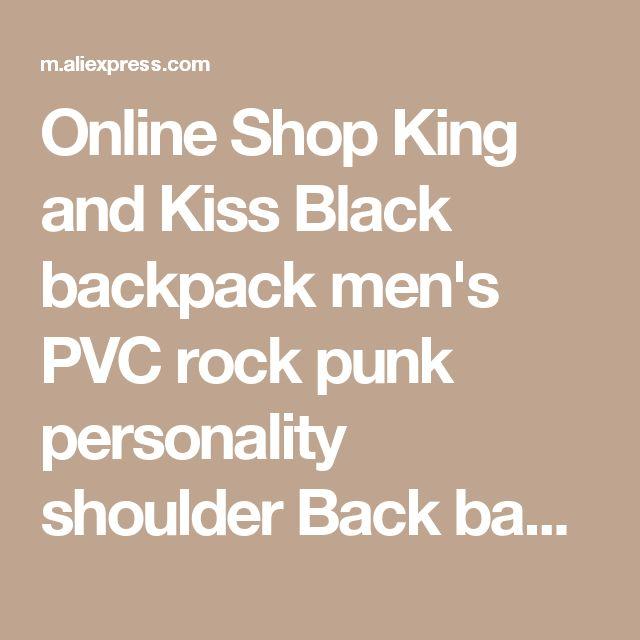 Online Shop King and Kiss Black backpack men's PVC rock punk personality shoulder Back bag Lady large capacity 14 inch laptop bag #KK7022   Aliexpress Mobile