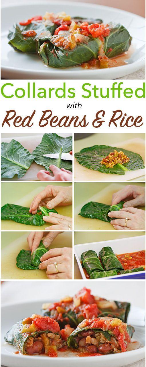 Louisiana-gekruide rode bonen en rijst verpakt in Collard bladeren en gebakken met een eenvoudige tomatensaus.  Deze gevulde collards zijn veganistisch en glutenvrije!