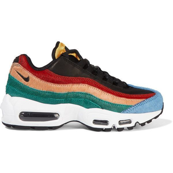 Nike Air Max 95 leather and calf hair sneakers found on Polyvore featuring shoes, sneakers, footwear, black, lace up sneakers, colorful shoes, nike trainers, black leather trainers and lace up shoes