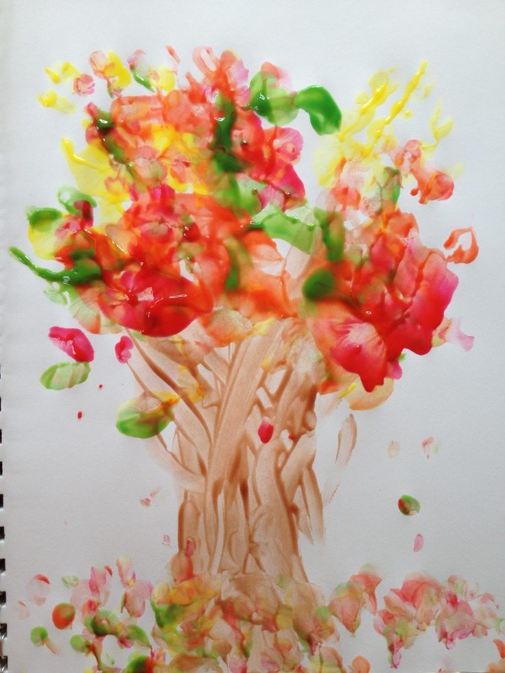 Autumn toddler finger painting craft....can modify it with paper tree cut outs and let them finger paint the leaves too!