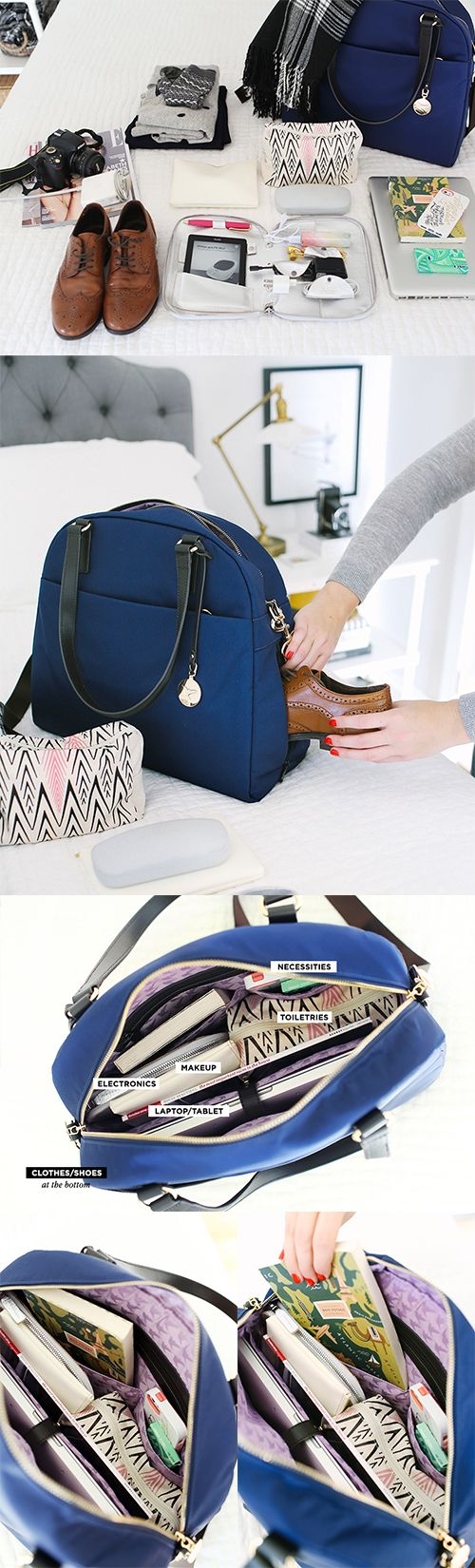 """""""The OG"""" - lightweight travel bag, tech friendly laptop tote, and stylish gym bag. Designed by Lo & Sons - loandsons.com. Photo by The Every Girl - theeverygirl.com"""