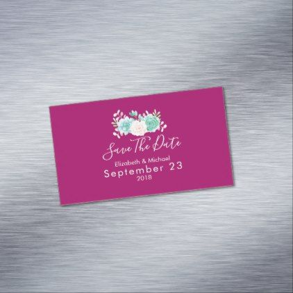 Pastel Pink & Green Floral Wedding Save The Date Magnetic Business Card - watercolor gifts style unique ideas diy