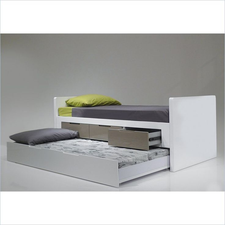 Lowest price online on all Mobital Jack N Jill Single Trundle Bed in High Gloss White - BED-JAJI-WHIT-SINGL