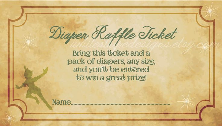 Printable Peter Pan Diaper Raffle Ticket - 3.5 x 2 - Neverland Baby Shower by WhiteStripeDesigns on Etsy https://www.etsy.com/listing/508363373/printable-peter-pan-diaper-raffle-ticket