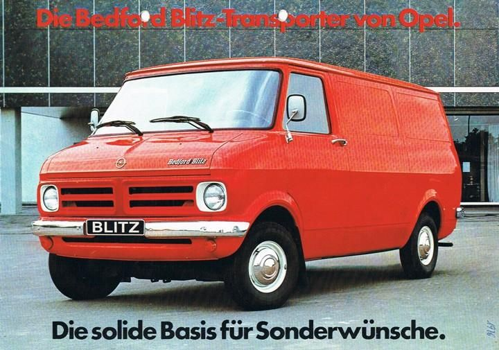 """Opel sold their own Blitz transporters with 2,1 and 2,4 to up to 1975,"" says Karl-Heinz. ""For a lower range of transporters they started selling the Bedford CF at the beginning of the 1970s in Germany. After the production of the Opel Blitz they changed the name from Bedford CF to Bedford Blitz."""