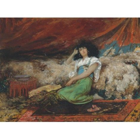 Georges Jules Victor Clairin (français, 1843 - 1919)  Harem maid with peacock fan  oil on canvas  50,1 x 66,9 cm. (19.7 x 26.3 in.)