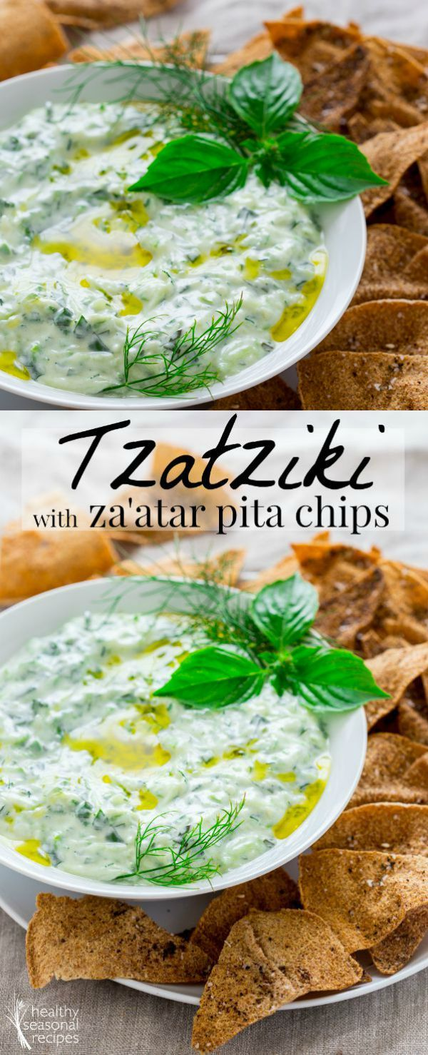 tzatziki with za'atar pita chips - Healthy Seasonal Recipes