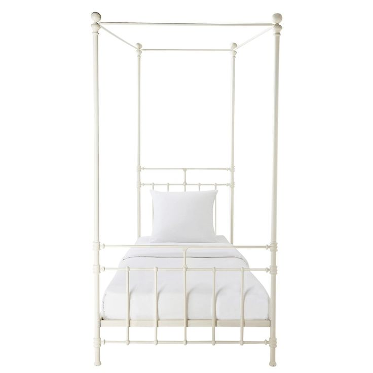 Metal 4 Poster Bed Part - 46: Metal 90 X 190cm Four-poster Bed In White