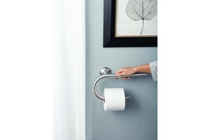 Moen Inc. has added the Moen Home Care Grab Bars with Integrated Accessories that combine the safety benefits of a grab bar with three common bath essentials—a towel bar, toilet-paper holder and shelf.  Each grab bar offers a 250-pound weight capacity and is available in a brushed nickel finish.Toilets Pap Holders, Common, Brushes Nickel, Bath Essentials A, Bathroom Fixtures, Care Grab, 250 Pound Weights, Benefits, Bar Offering