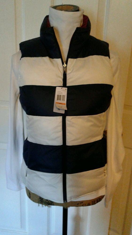 NWT Nautica Puffer Ski Jacket Coat Small Reversible Navy White Burgandy Women's  | eBay