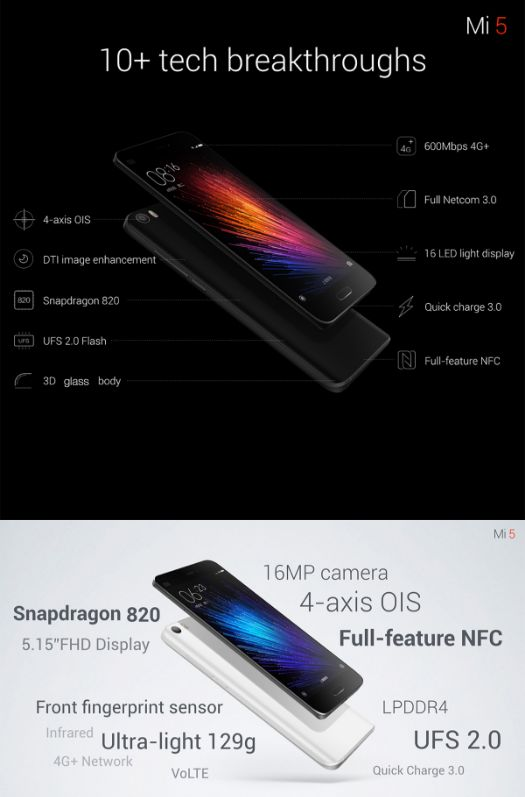 XiaoMi Mi5 International Edition 4G Smartphone 5.15 inch MIUI 7 Snapdragon 820 64bit Quad Core 1.8GHz 32GB ROM 3GB RAM FHD Screen 16.0MP Main Camera 3D Glass Body  #phone #mobile #gadgets #CellPhones #smartphones #Electronics @gadgetsone