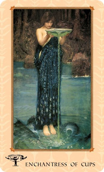 Enchantress of Cups (Queen of Cups) ~ the secret to the Law of Attraction is focused emotional power. Intent. -from the Tarot of Delphi: A Fine Art Tarot Deck