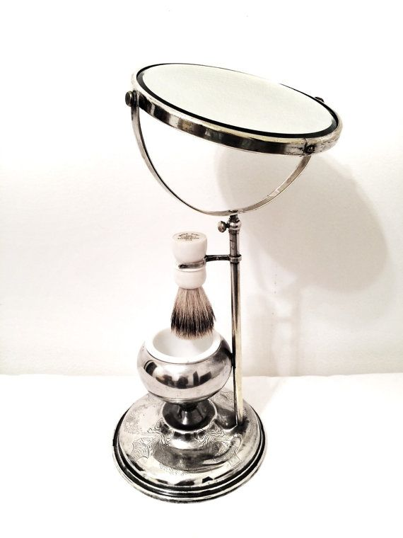 Antique shaving stand mirror, adjustable, with white milk glass cup and Made-Rite Pure Badger shaving brush 1930's era