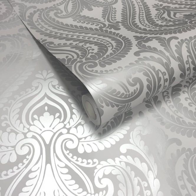 Shimmer Damask Wallpaper Soft Grey / Silver   Love The Reflective Quality!  Great As An Accent Wall For A Bedroom!