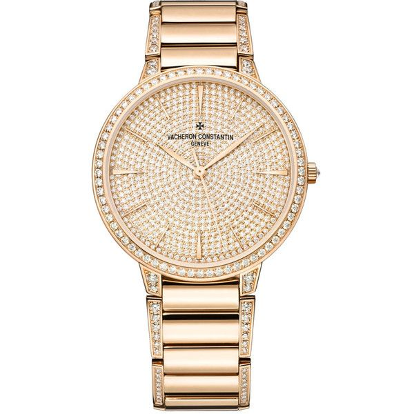 Vacheron Constantin Patrimony Contemporary Rose Gold Diamond Pave Dial... (368,460 CNY) ❤ liked on Polyvore featuring jewelry, watches, rose gold jewelry, see through watches, analog watches, dial watches and analog wrist watch