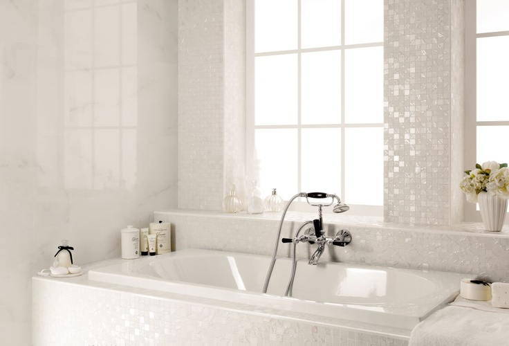 Nuove tonalità Four Seasons 2013 - Mosaico Snow + Selection Statuario 40x80 + spigoli