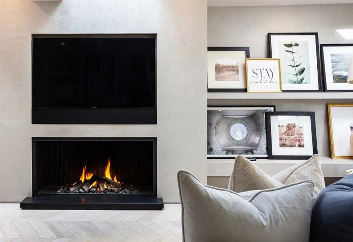 Modus Fireplaces On Instagram Love The Herringbone Flooring And The Beautifully Arranged Art Work To The Righ Gorgeous Fireplaces Herringbone Floor Fireplace