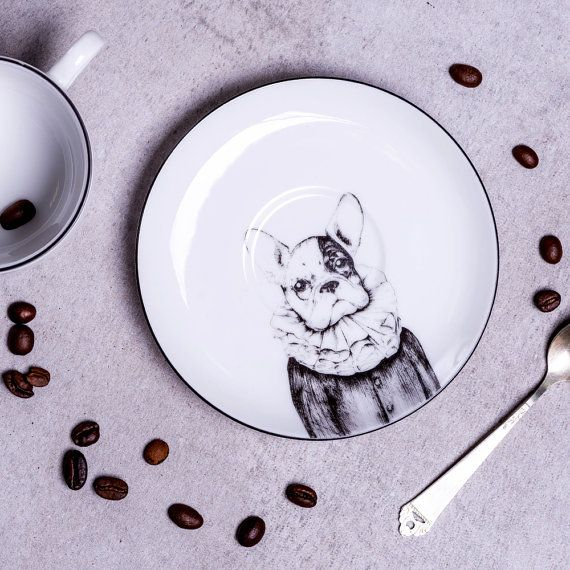 French bulldog porcelain cup and saucer original hand drawn
