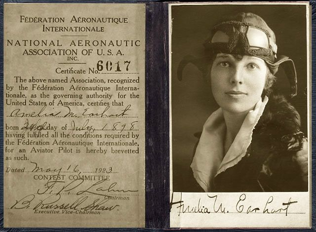 Amelia Earhart's pilot license (May 16, 1923)...her story is so very…