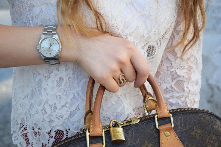 Fashion blogger accessories, Louis Vuitton Alma bag and Rolex watch