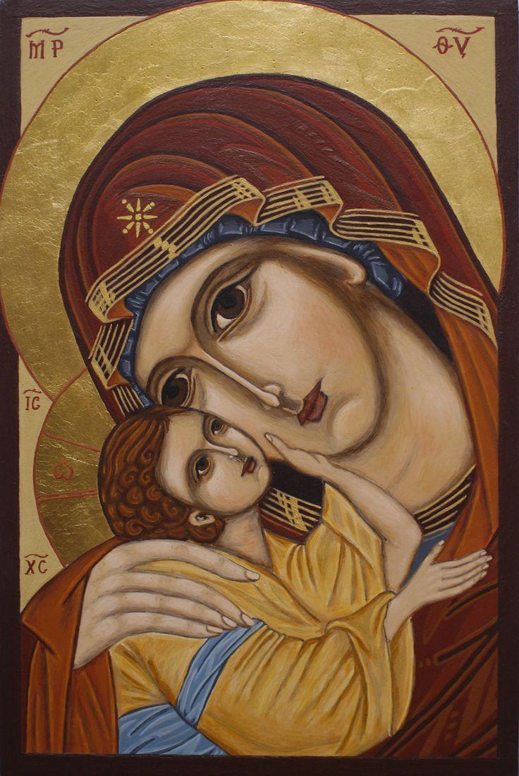 Mother of God Eleusa. Egg tempera on wooden board. Żukowska