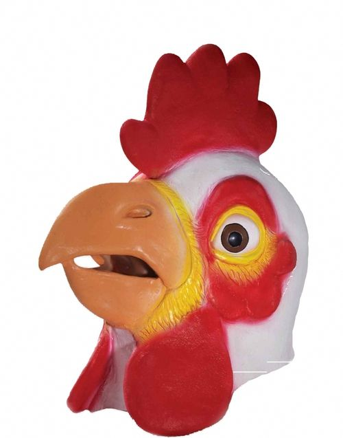 Chicken Deluxe Latex Animal Mask - This is a full face latex chicken mask. There is a hole in the beak for vision and breathing. Adult use only. Not intended for childen under 14 years of age. #yyc #costume #mask #animal