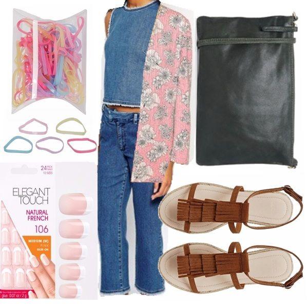 Outfit per una giovane donna dalla carnagione scura o abbronzata, ispirato ai look hippie degli anni '60, fatti di motivi floreali, frange di camoscio e colori allegri, rivisitati con un tocco di moderna giocosità.