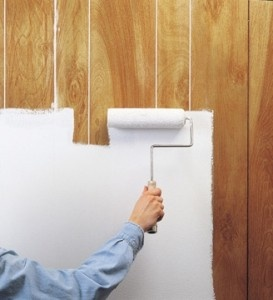 Painting-paneling-before-and-after | Wallpaper designs | How to paint over wallpaper and paneling