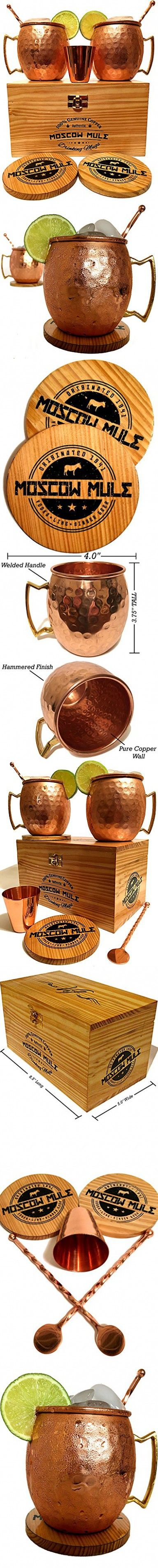 Moscow Mule Copper Mugs Gift Set of two 16 Oz. Cups, 1 Shot Glass, 2 Stirrers, 2 Wooden Coasters & Premium Crate by Vif | Authentic 100% Pure Solid Copper Drinking Glasses with Welded Handles