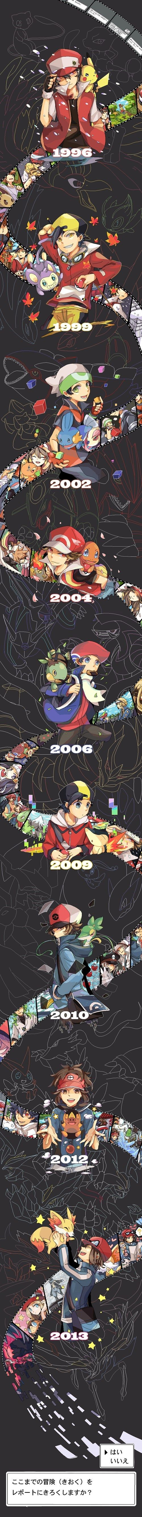 Pokémon - Pokémon, from the beginning until now. I wish I knew what the bottom said. I can only make out the kana characters. Terrible with kanji.