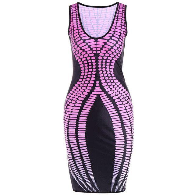 Gamiss Women Sexy Club Dress Flora Printed Sleeveless O neck Knee-Length Lady Summer Dresses Sheath Elastic Bodycon