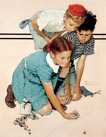 Norman Rockwell painting - pitching marbles. That was me too as a kid--pitching/playing with the boys.  -m