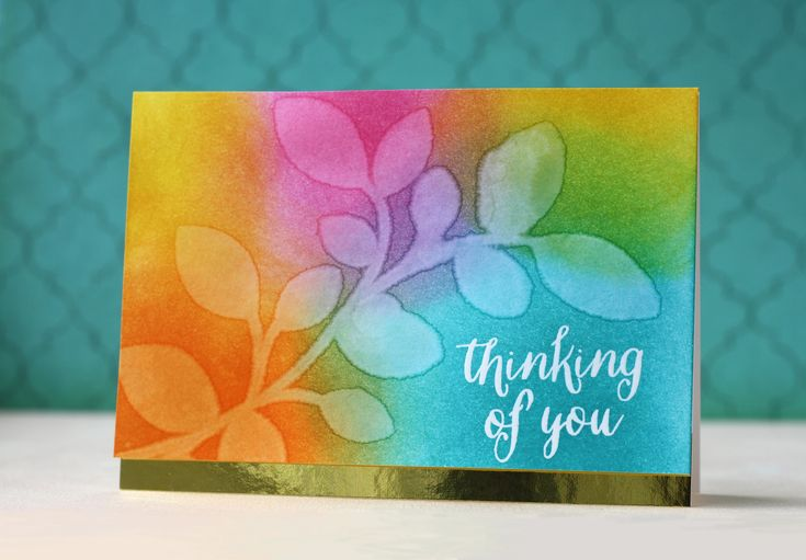 SSS Clustered Leaves die; DIB; rainbow; hello; miss you; thinking of you; sympathy; stencil from die cut; soft