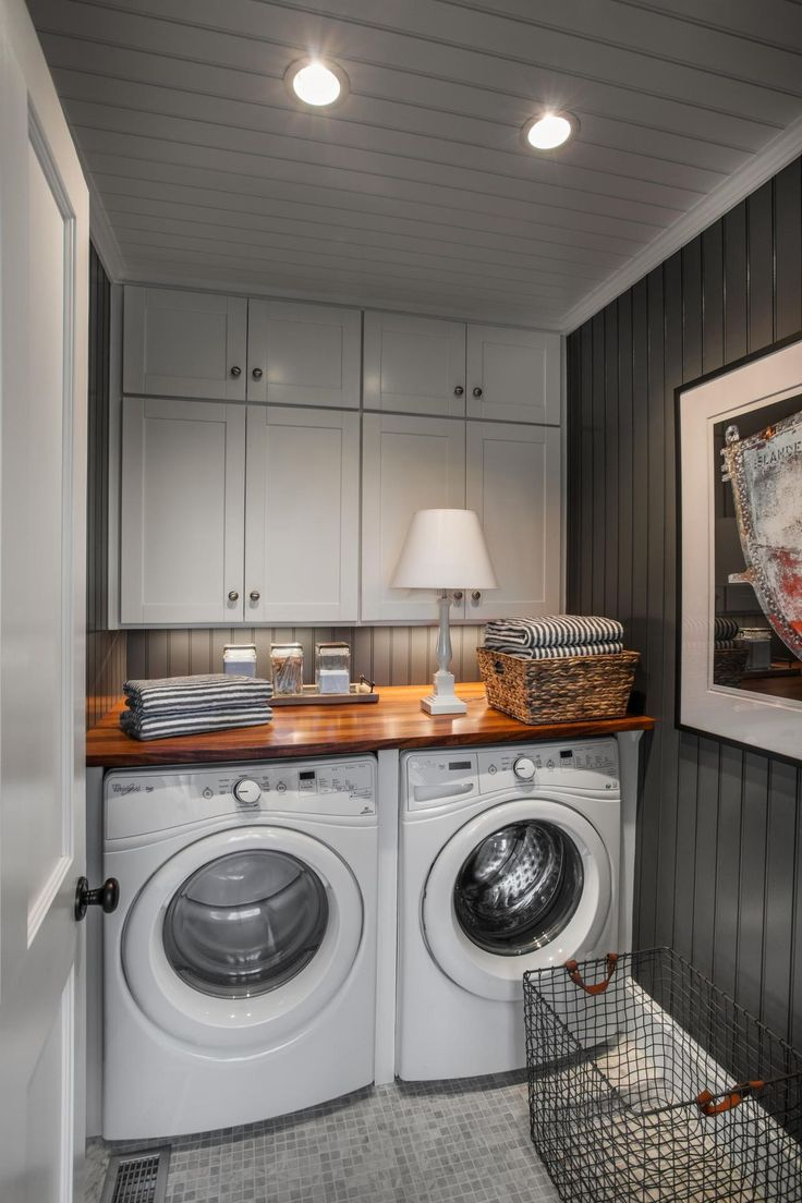 Countertop for front load washer and dryer - 2015 Hgtv Dream Home This Spacious Laundry Room Boasts A Side By Side Front Loading Washer And Dryer Tucked Underneath A Butcher Block Countertop