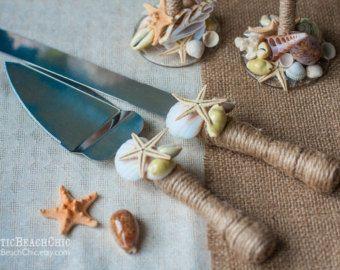 BEACH Wedding cake server and knife-  rope, starfish, shells - beach wedding nautical - WEDDING Table Settings