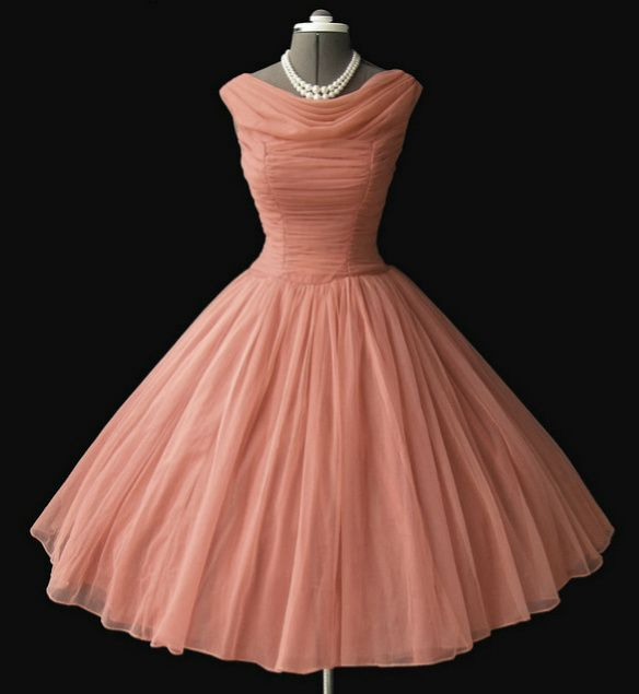peach chiffon 50s dress. Even cuter than the purple one! Different but kind of cool style x