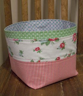 """Nice medium sized basket - she calls it the 3rd Floor Fabric Basket :)  I think it finishes to about 8x9x4.  Cut 13x17"""", 1/2"""" s.a., 4"""" boxes cut.  If pieced, use 2x17, 4x17, 9x17."""
