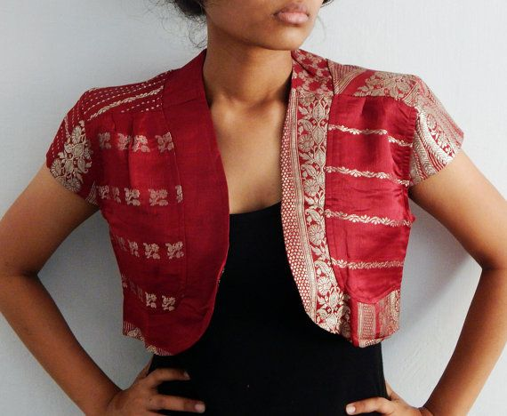 Silk sari Jacket Upcycled red Sari brocade border by Indianroute