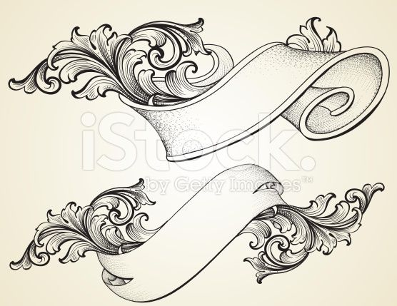 Curled Scroll Banners royalty-free stock vector art