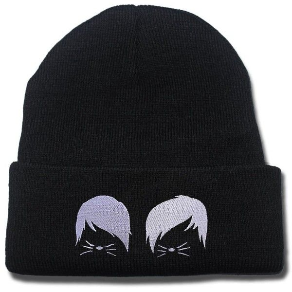 Dan and Phil Cat Whiskers Logo Beanie Fashion Unisex Embroidery... ($8.99) ❤ liked on Polyvore featuring accessories, hats, embroidery hats, caps hats, cat hat, embroidered hats and cat beanie hat