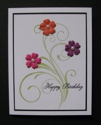 lovely blooms - card ideas .  Love the flourish and adding a few small flowers.  Simple and elegant.