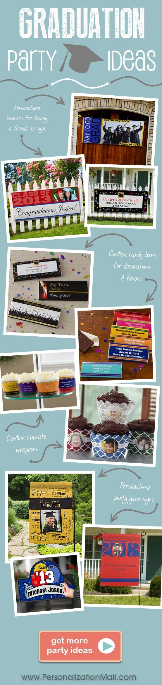 Graduation Party ideas with great ideas for graduation decorations, party favors, invites and more!