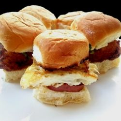 fried buttermilk chicken sliders with buttermilk ranch and spam with fried egg sliders on hawaiian bread