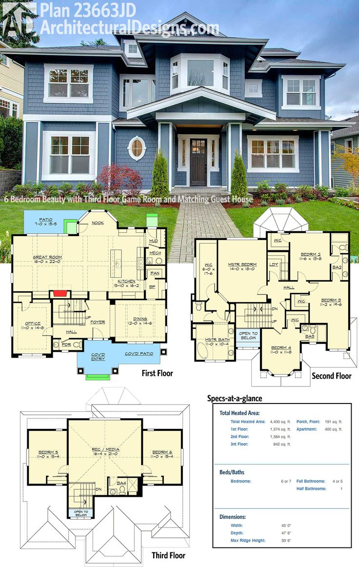 plan 23663jd 6 bedroom beauty with third floor game room and matching guest house - Floor Plans For Houses