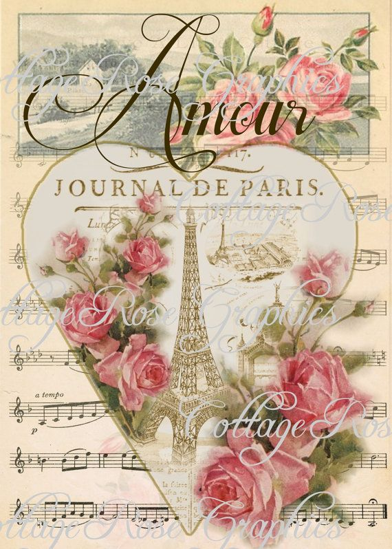 Paris Amour vintage Valentine Large digital por CottageRoseGraphics, $3.75